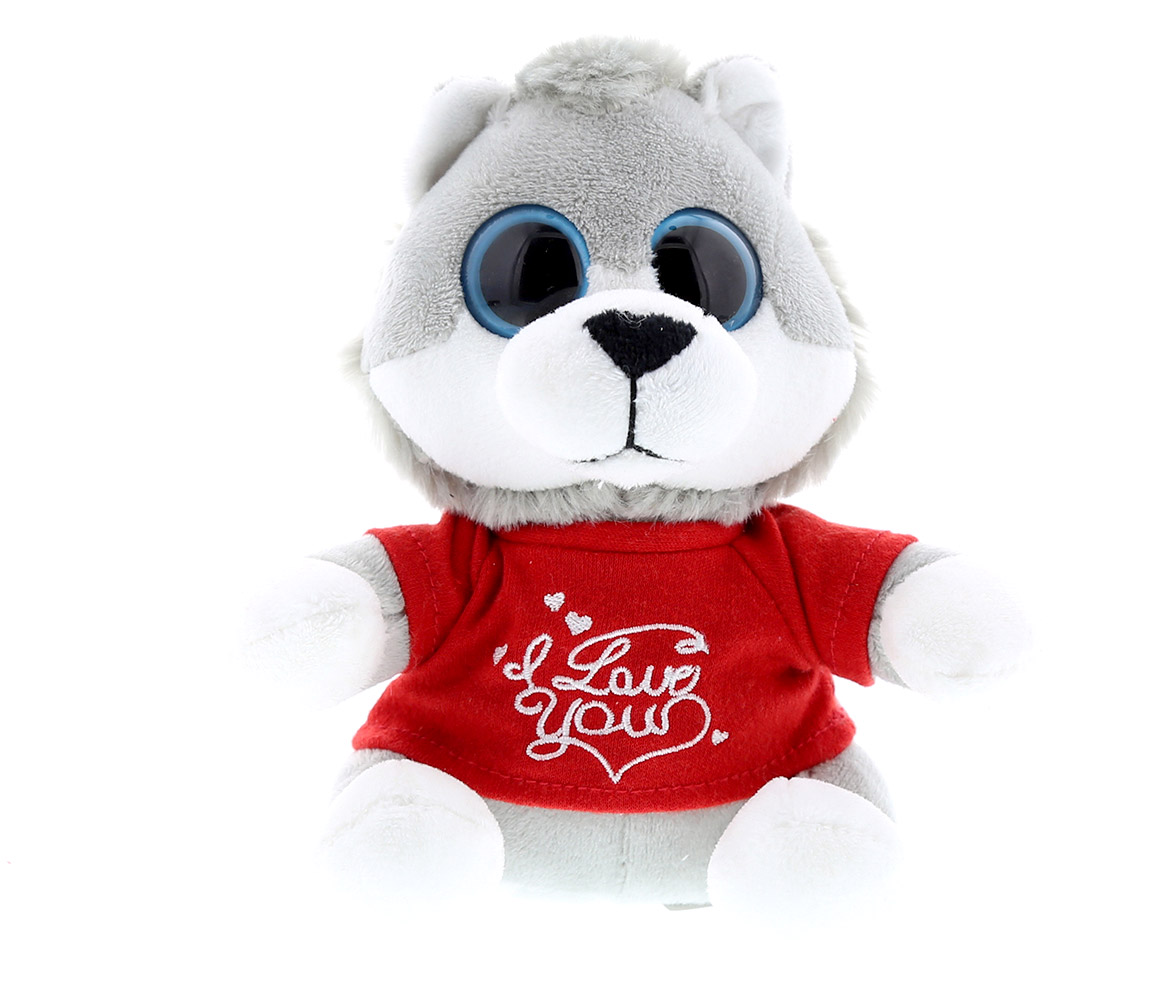Dollibu Grey Wolf Big Eye Red I Love You Shirt