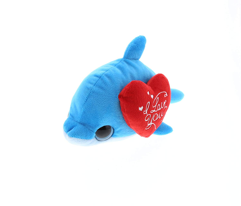 Super Soft Plush Dollibu Blue Dolphin Big Eye I Love You