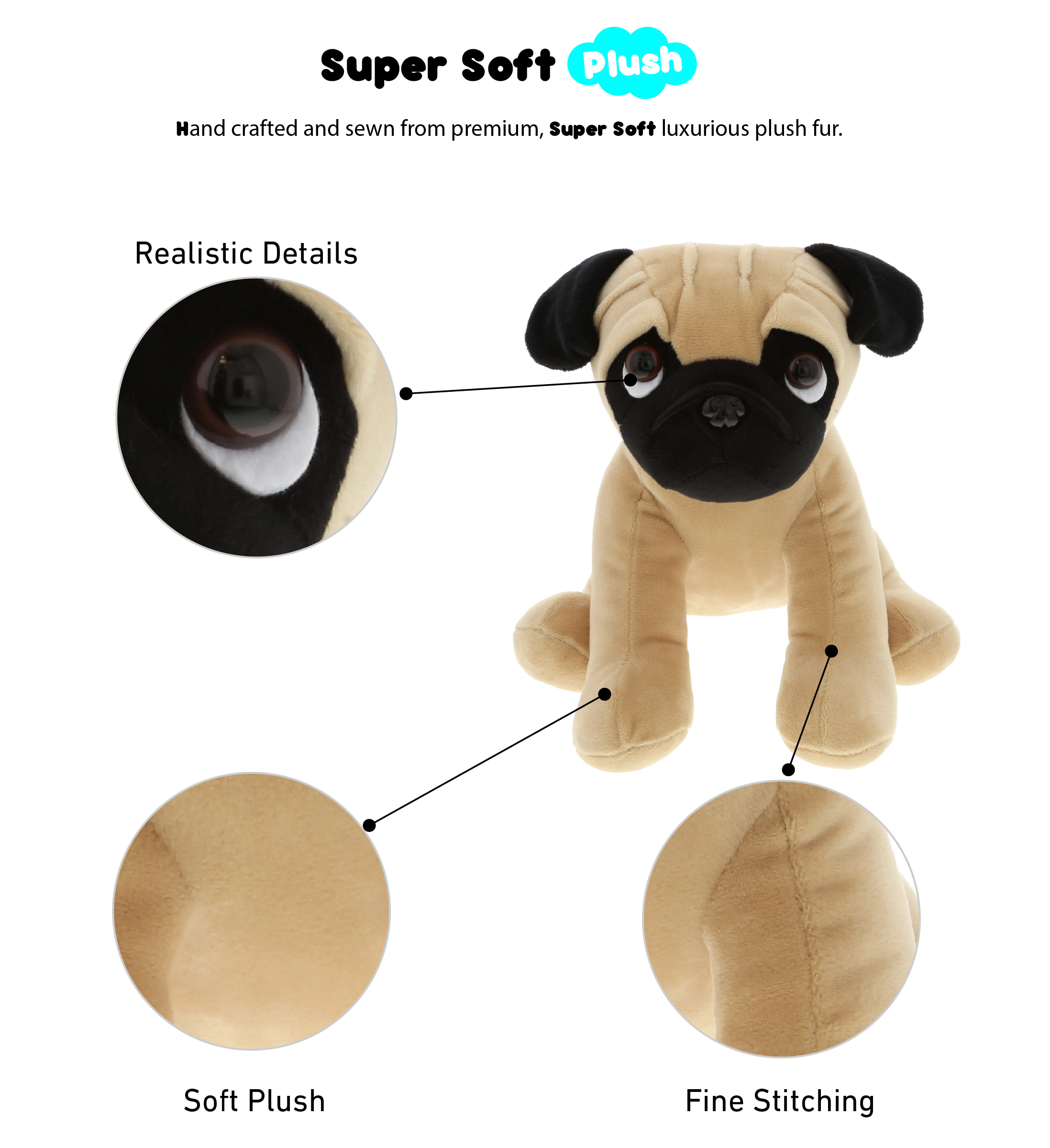 Realistic Pug Stuffed Animal, Dollibu Dollibu Sitting Pug Stuffed Animal Dog Plush Toy Kids Adults Huggable Puppy Cuddle Gifts Cute Stuffed Animals For Toddler Baby First Teddy Bear Super Soft Pet Toys For